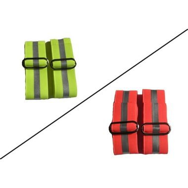Bezpečnostná páska na ruku oranžová s reflexným prúžkom, 2 ks
