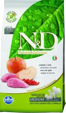 Farmina N&D dog GF adult medium diviak & jablko 0,8 kg