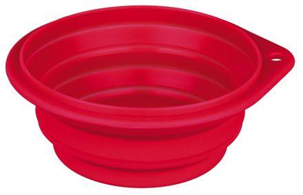Trixie Cestovná miska skladacia, silikónová 0,25 l/11 cm červená