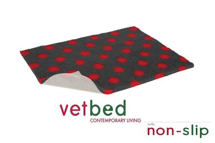 Vetbed® protišmykový antracitový s červenými bodkami 100 x 150 cm