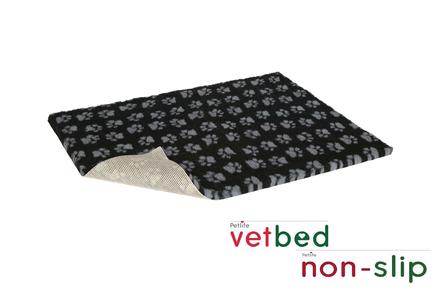 Vetbed® protišmykový čierny so šedými packami 100 x 150 cm