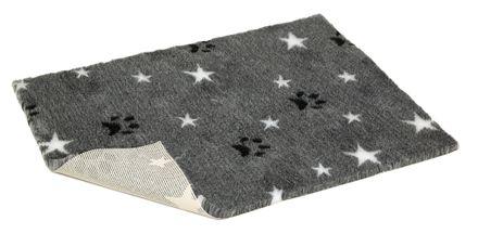 Vetbed® protišmykový šedý s bielymi hviezdičkami a s packami 100 x 150 cm