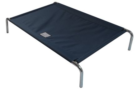 Vyvýšená posteľ pre psov L 110 x 75 cm tmavomodrá